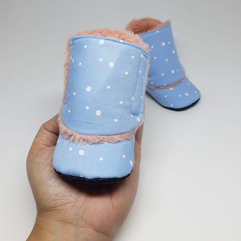 Botinha de Velcro Flocos de Neve