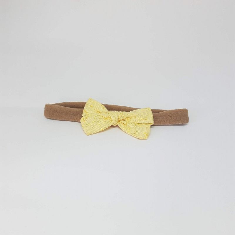 Laço Meia de Seda Amarelo Estampado