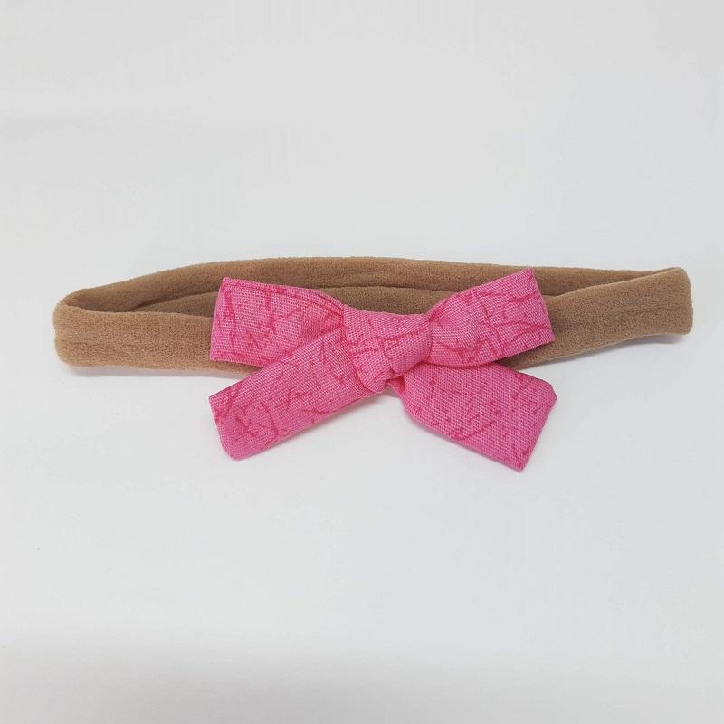 Laço Meia de Seda Rosa Chiclete Estampado
