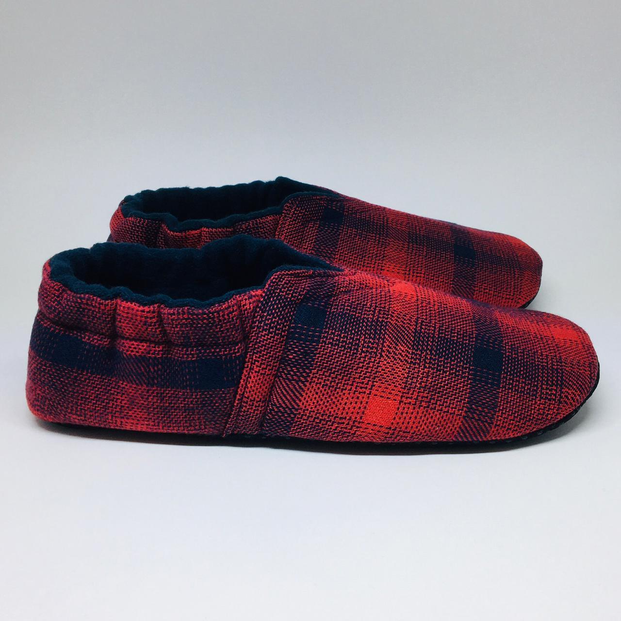 Pantufa de Flanela Xadrez Vermelha e Azul - do RN ao 44