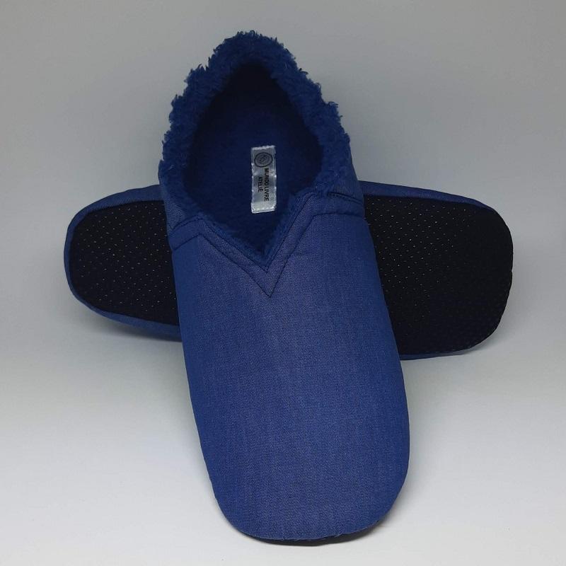 Pantufa Jeans com Pelúcia Azul - do RN ao 44