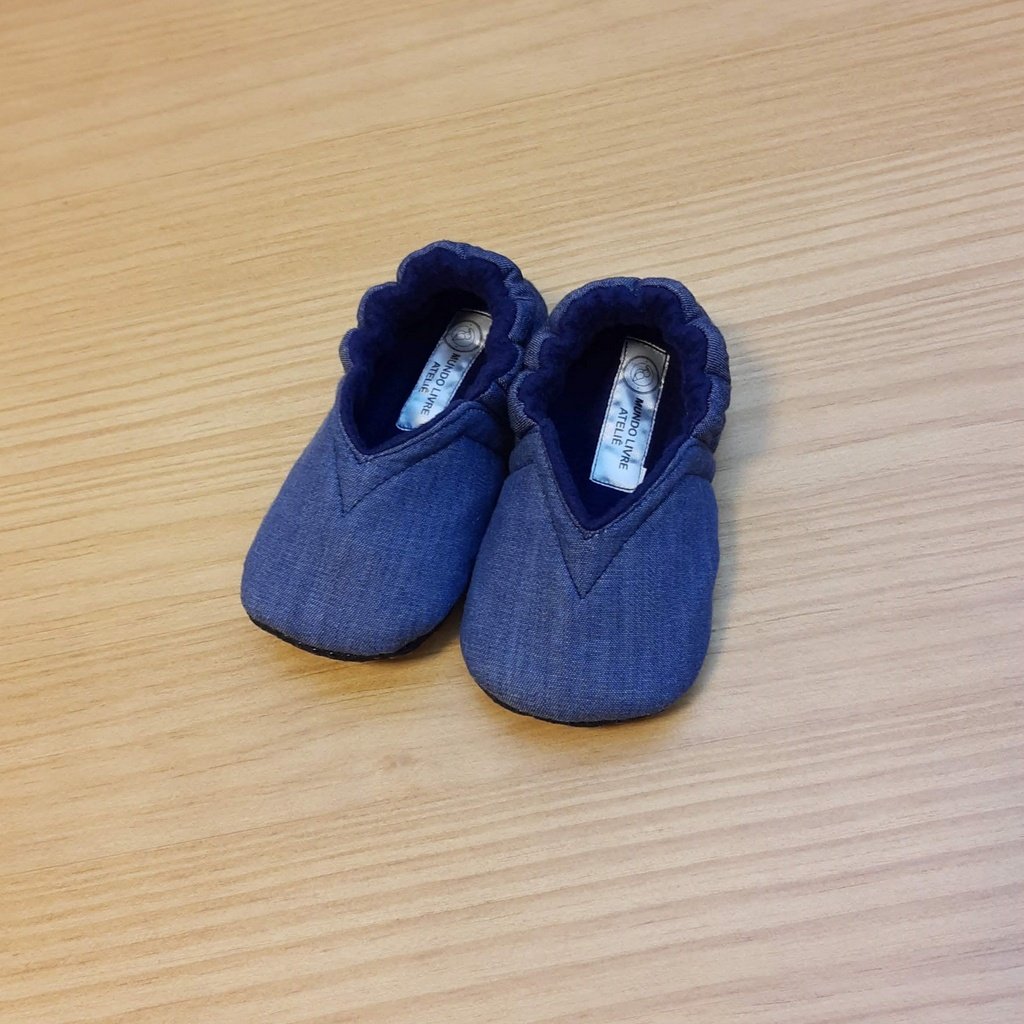 Pantufinha Jeans com Soft Azul Marinho