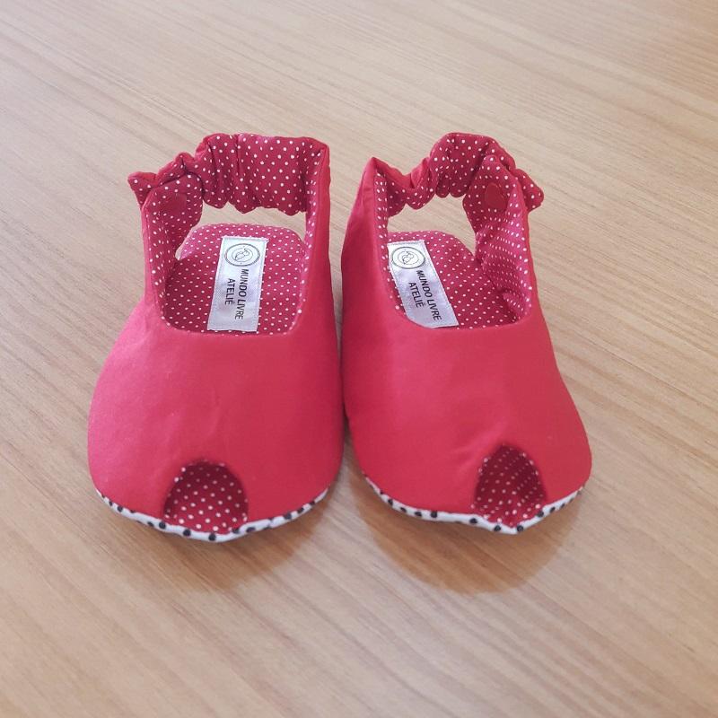Sapatinho Peep Toe Vermelho