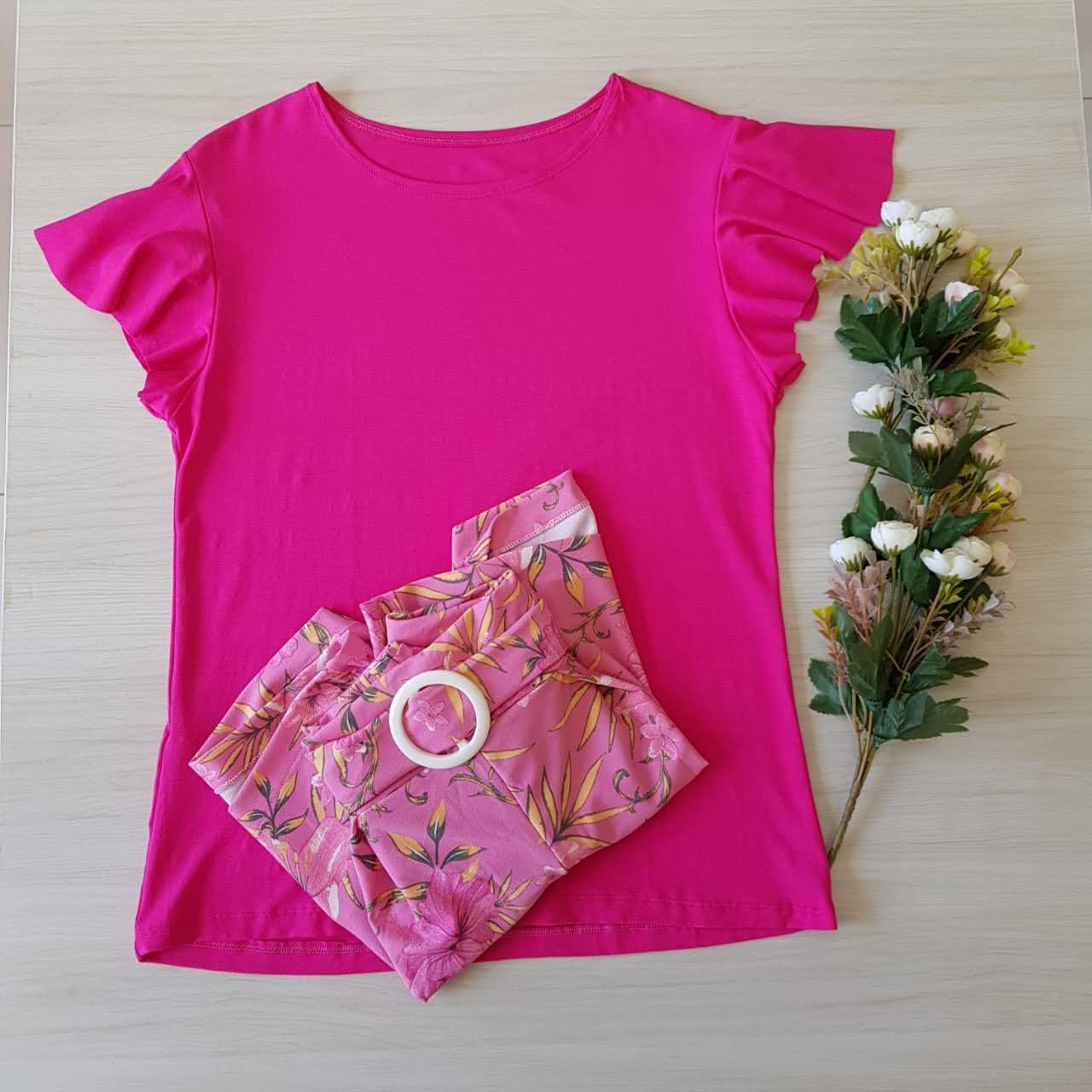 Conjunto blusa e short pink plus size