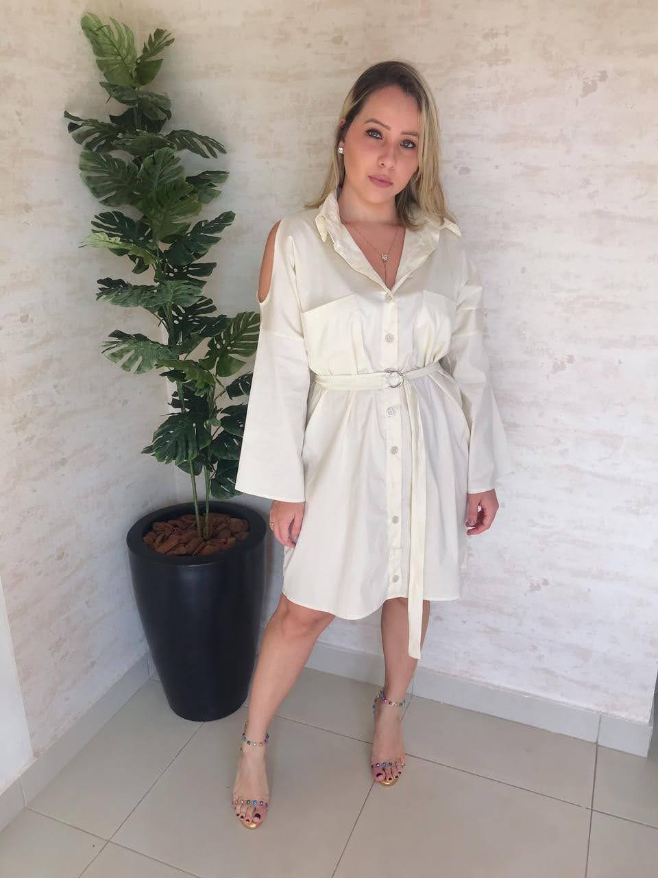 Vestido chamise off white