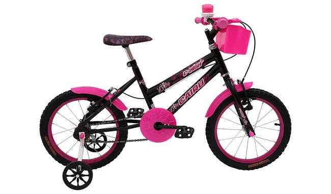 Bicicleta Cairu C-high Aro 16 - Preto e Rosa