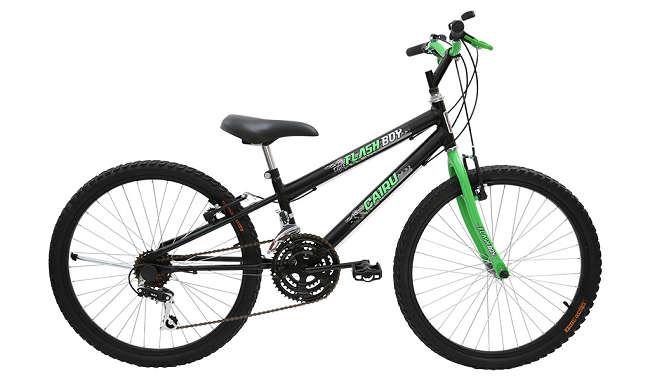 Bicicleta Cairu Flash Boy Aro 24 18V - Preto e Verde