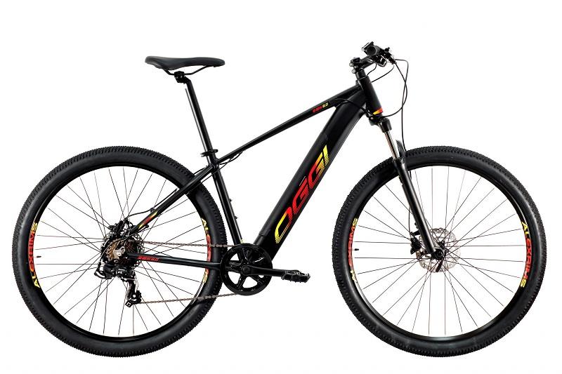 Bicicleta Elétrica Oggi Big Wheel 8.0 Aro 29 7V - 2021 - Preto, Vermelho e Amarelo