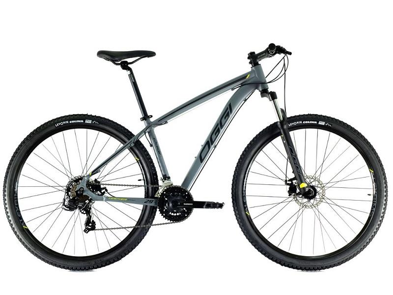 Bicicleta Oggi Hacker Sport Aro 29 21V - 2021 - Cinza, Preto e Amarelo