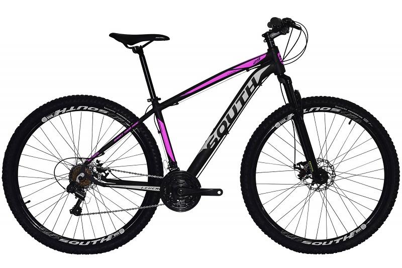 Bicicleta South Legend Aro 29 21V - Preto e Rosa