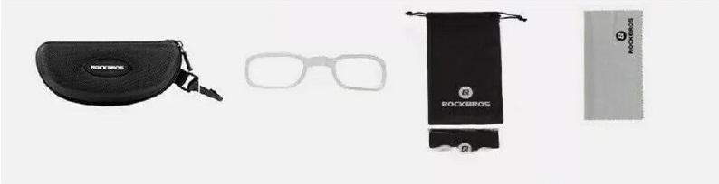 Óculos RockBros Lentes Transparentes - Preto e Vermelho