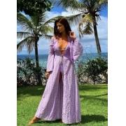 kimono laise French Rivieira lilas
