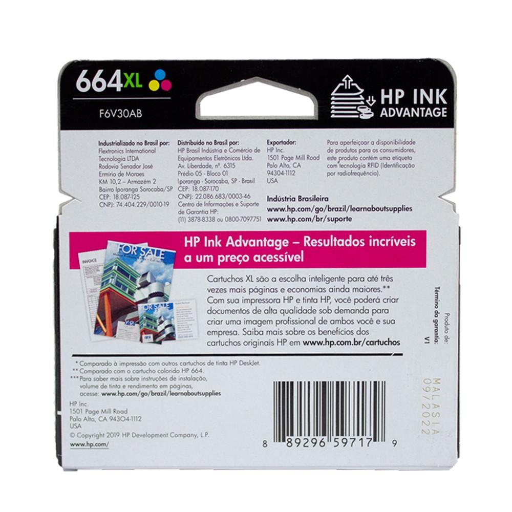 Cartucho Hp 664xl colorido original para HP 2136