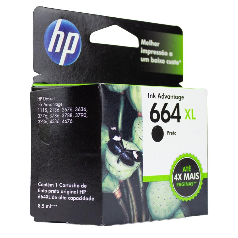 Cartucho 664xl Preto Original para HP 2136 2676 3776 480 páginas