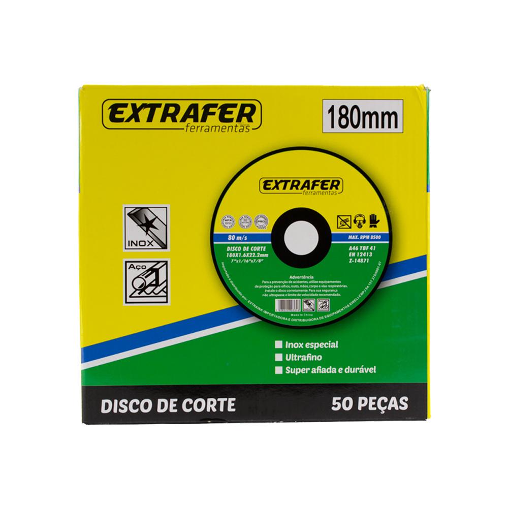 Disco de Corte para Aço e Inox 1/16 180mm com 50 peças