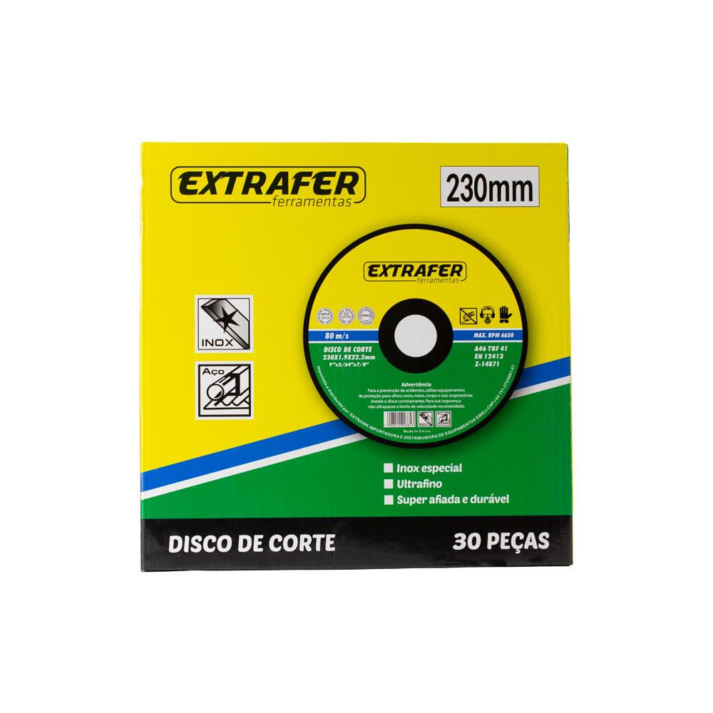 Disco de Corte para Aço e Inox 5/64 230mm com 30 peças