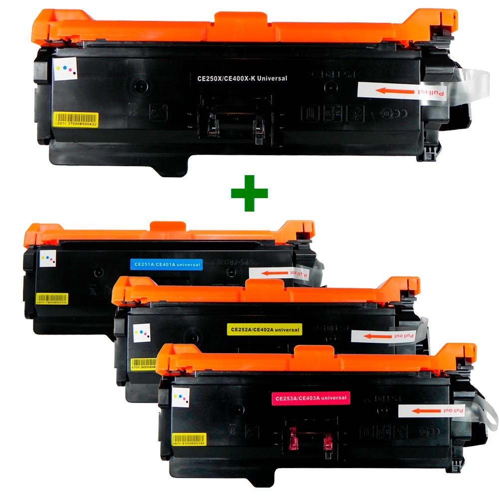 Kit Toner Compatível CE250X/1/2/3 CE400X/1/2/3 Preto e Coloridos até 11 mil páginas