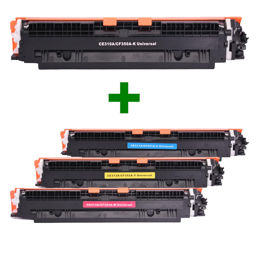 Kit Toner Compatível CE310/1/2/3 CF350/1/2/3 Preto e Coloridos até 1,3 mil páginas