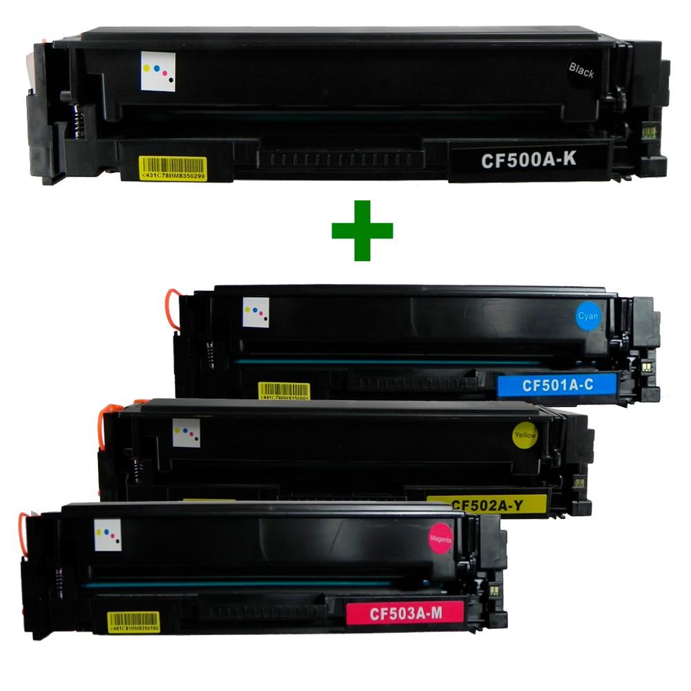 Kit Toner CF500A/1/2/3 Compatível M425 M281 Preto e Coloridos até 1,4 mil páginas