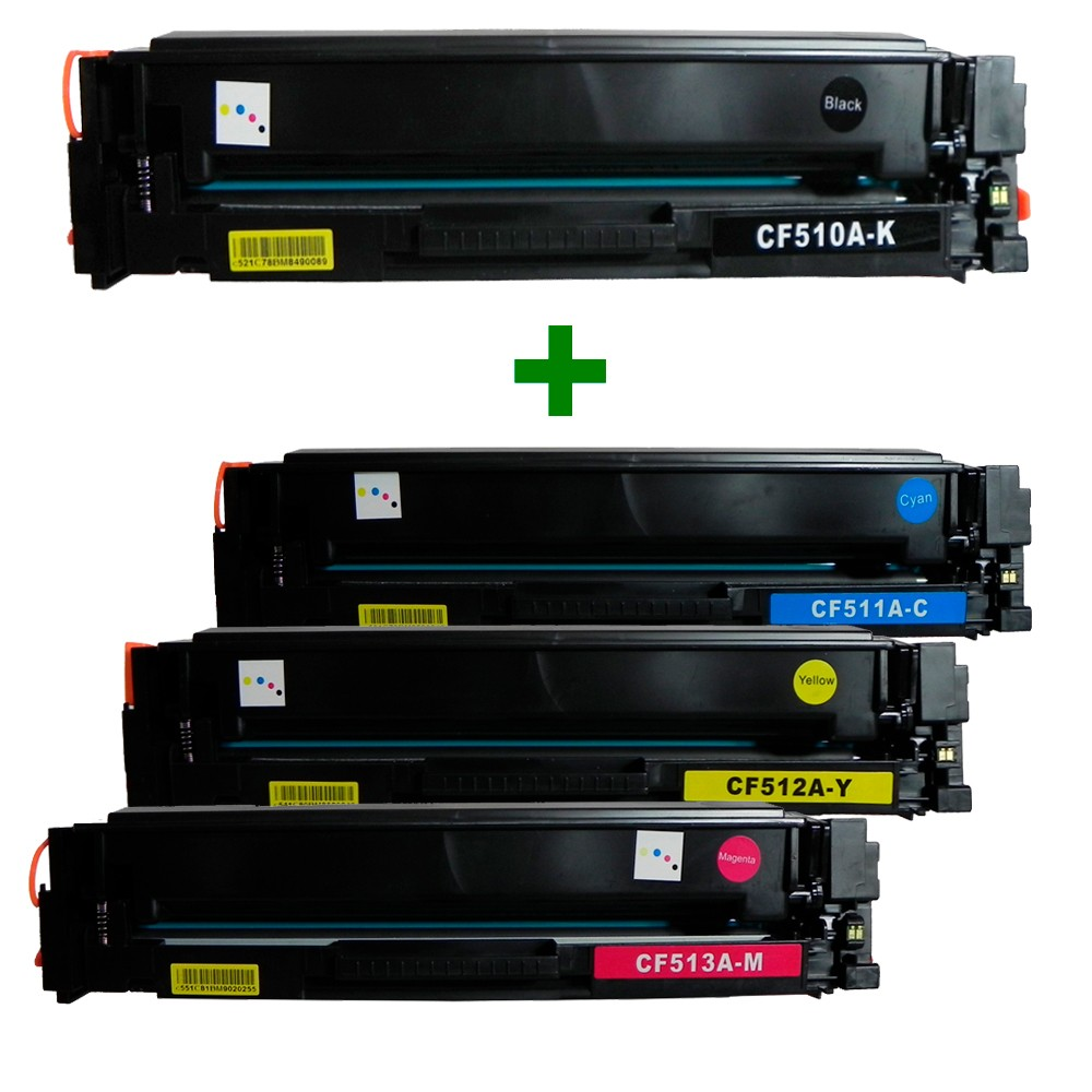 Kit Toner Compatível CF510A/1/2/3 M180nw Preto e Coloridos até 1,1 mil páginas