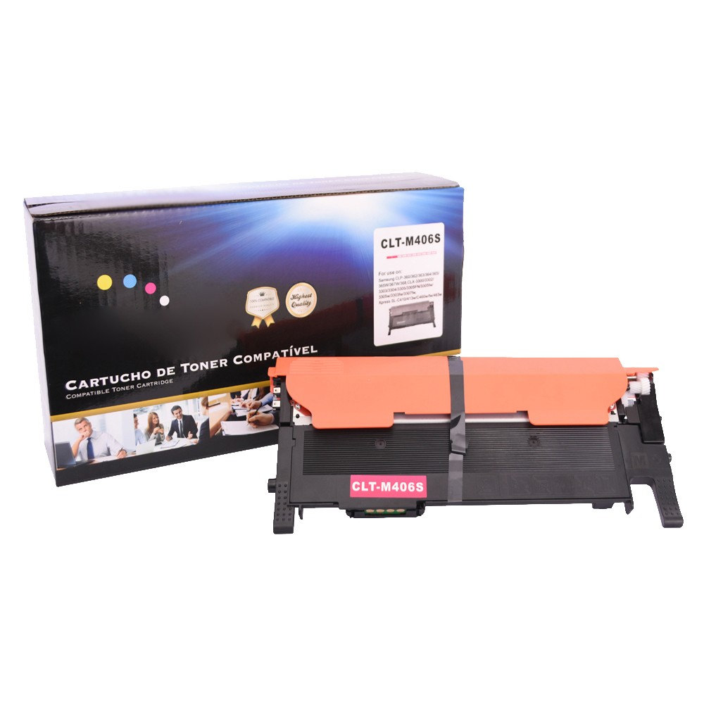 Kit Toner Compatível 406S CMY BK CLP360 CLX3300 até 1,5 mil paginas