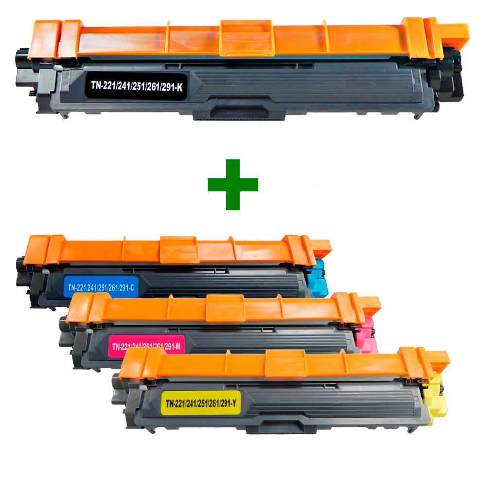 Kit Toner Compatível TN221 3140CW 9020CDN Preto e Coloridos até 2,5 mil páginas