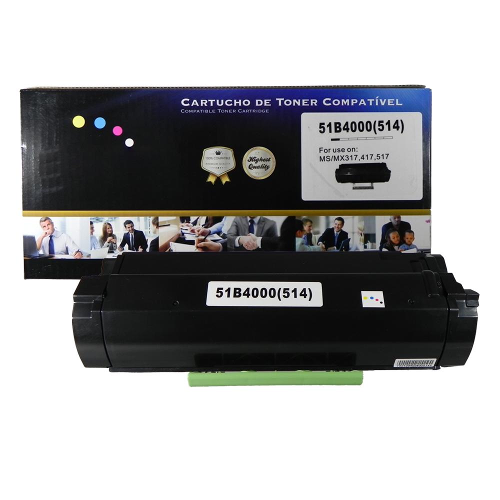 Toner Compatível 51B4000 51B4 Preto 2,5 mil páginas