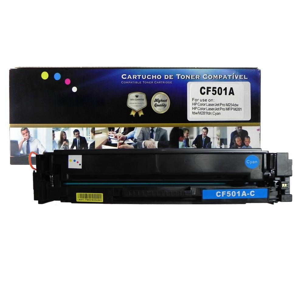 Toner Compatível CF501A M425 M281 Ciano 1,3 mil páginas