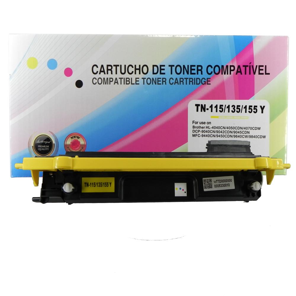 Toner Compatível TN110Y TN115 Tn135 TN155 9840CDW 4070CDW Yellow 1,5 mil páginas