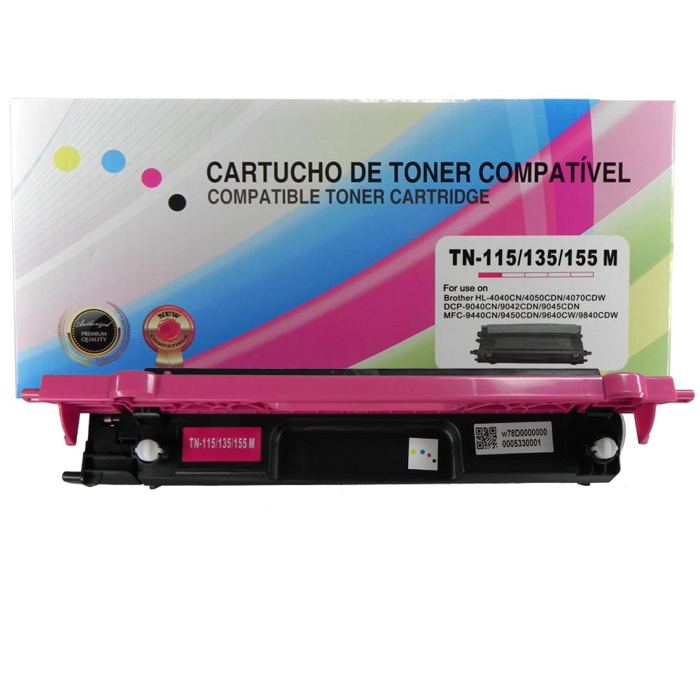 Toner Compatível TN110M TN115 Tn135 TN155 9840CDW 4070CDW Magenta 1,5 mil páginas