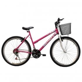 Bicicleta Athor Model Passeio Aro 26 18v Feminina C/ Cesto