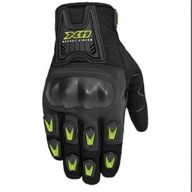 Luva X11 Blackout Motociclista Moto C/Protetor Preto Neon