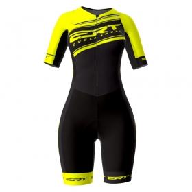 Macaquinho Ciclismo Feminino Ert Elite Team Amarelo Ciclista