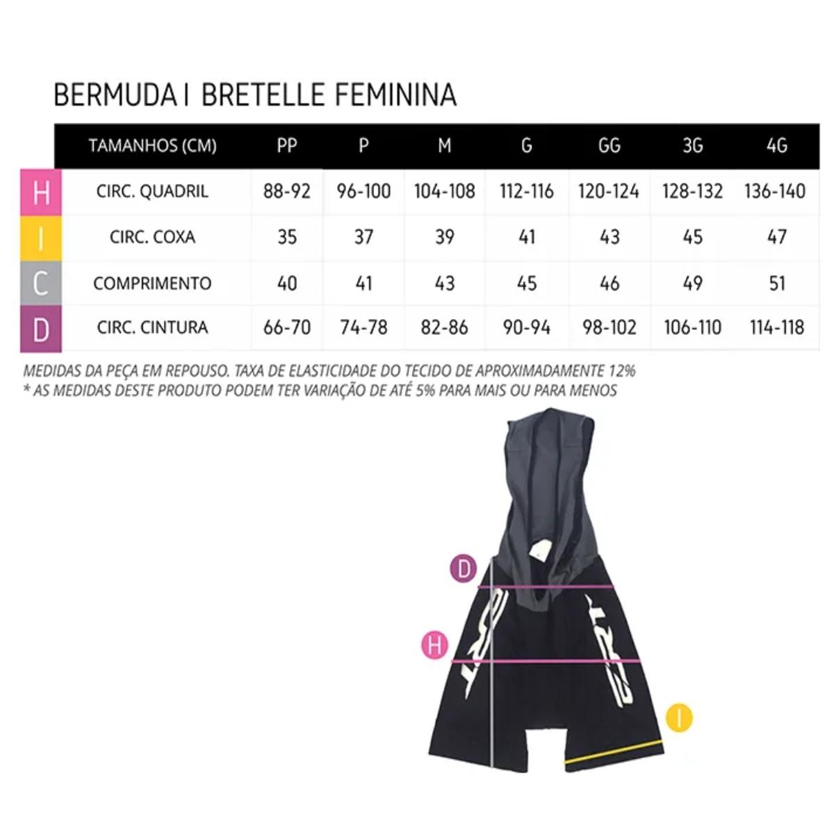 Bermuda Ciclismo Feminina Ert Amarela Forro Gel Ciclista
