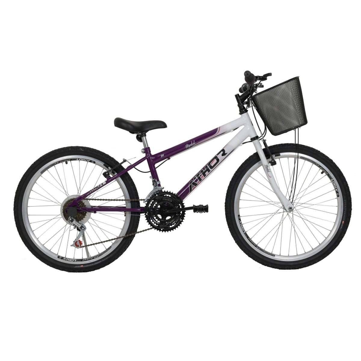 Bicicleta Athor Model Infantil Aro 24 18v Feminina C/ Cesto