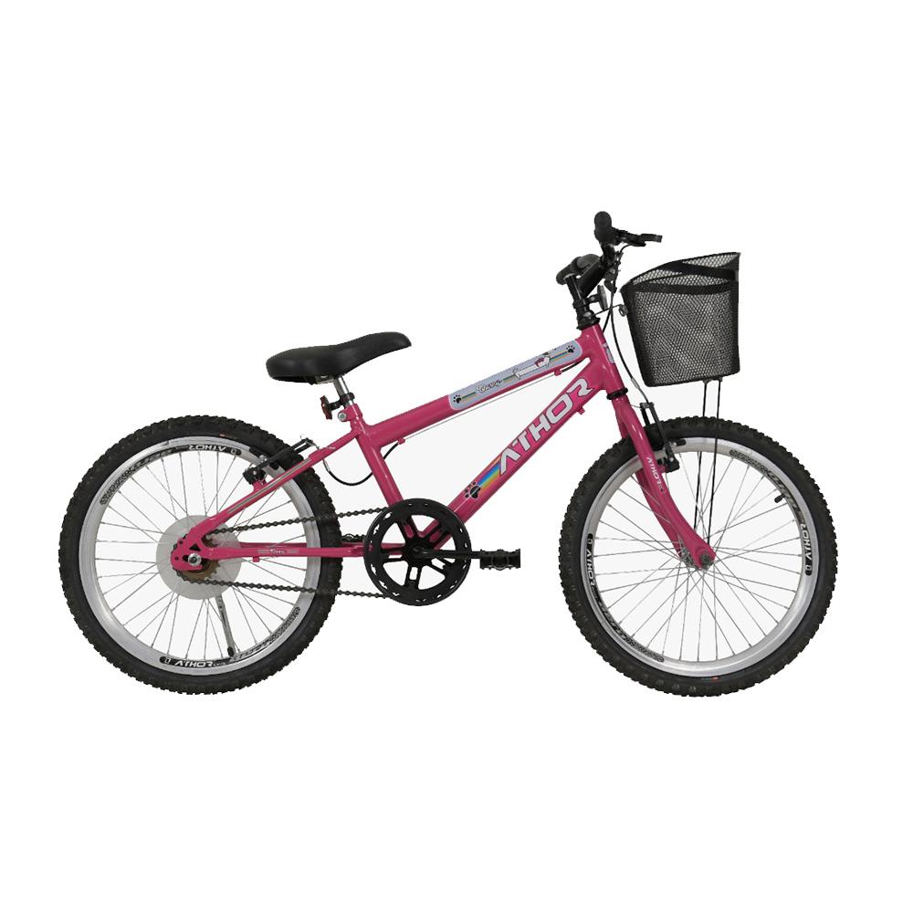 Bicicleta Infantil Aro 20 Athor Pets Feminina 18v C/ Cesto
