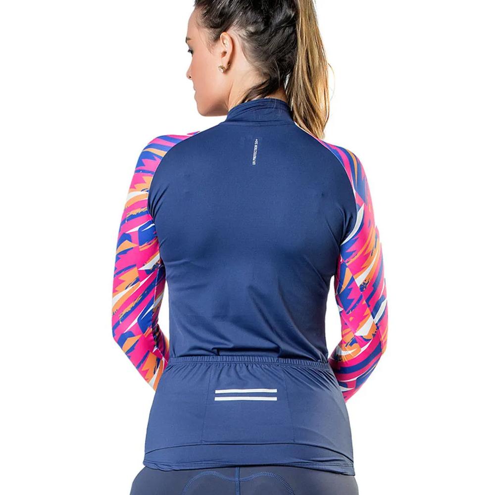 Camiseta Blusa Elite Bike 135116 Feminina Ciclismo Marinho