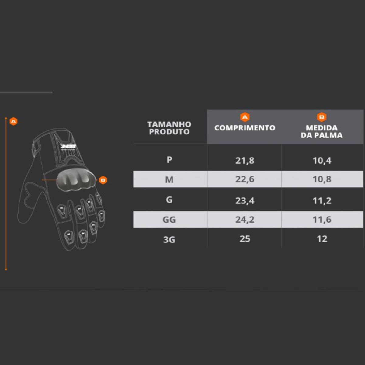 Luva X11 Blackout Motociclista Moto C/Protetor Vermelho