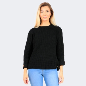 Blusa Tricot de Lã com Botão Preta