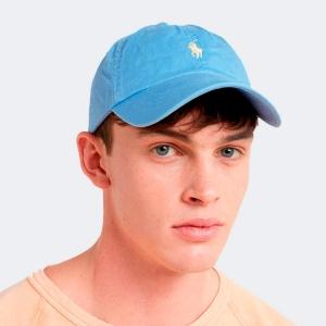 Boné Ralph Lauren Azul Celeste Com Logo Verde Claro