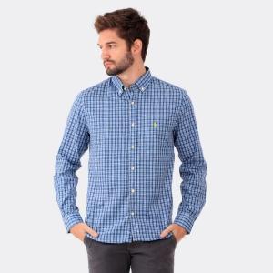 Camisa Ralph Lauren Custom Fit Xadrez Tartan Azul