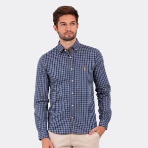 Camisa Ralph Lauren Custom Fit Xadrez Tartan Trinity Azul