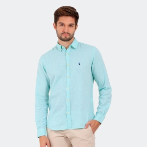 Camisa Ralph Lauren Linho Beta Verde Claro