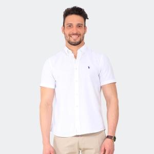 Camisa Ralph Lauren Linho Manga Curta Branca