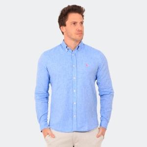 Camisa Ralph Lauren Linho Manga Longa Azul Claro