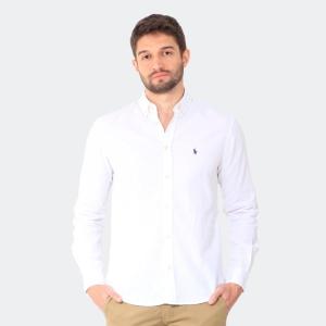 Camisa Ralph Lauren Linho Manga Longa Branca