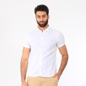 Camisa Yacht Master Linho Manga Curta Off White