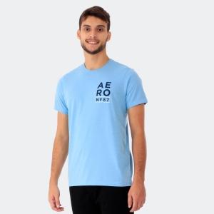 Camiseta Aéropostale Masculina Aéro NY 87 Mescla Azul