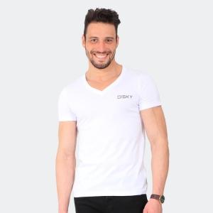 Camiseta Basica Masculina Disky Gola V Branca