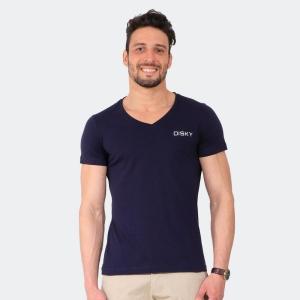 Camiseta Basica Masculina Disky Gola V Marinho